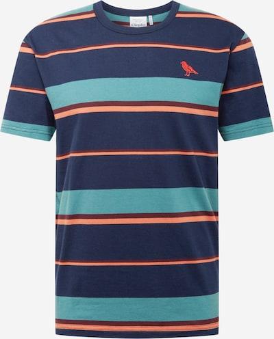 Cleptomanicx T-Shirt 'Coasting' in navy / pastellblau / koralle, Produktansicht