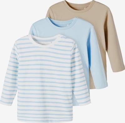 NAME IT Shirt 'Falk' in de kleur Donkerbeige / Lichtblauw / Wit, Productweergave