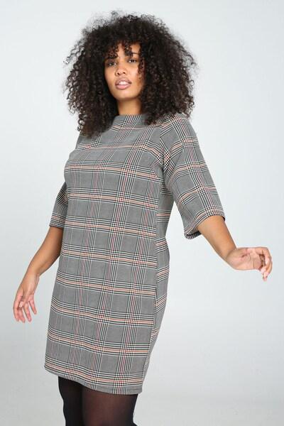 Paprika Kleid in grau / orange / blutrot / weiß, Modelansicht