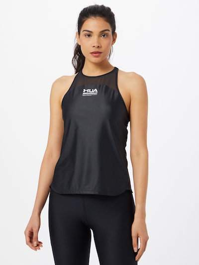 UNDER ARMOUR Sports Top in Black / White: Frontal view