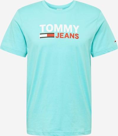Tricou Tommy Jeans pe turcoaz / albastru închis / roșu pepene / alb, Vizualizare produs