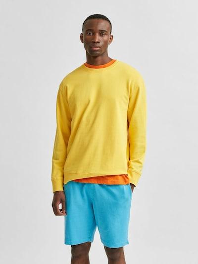 SELECTED HOMME Sweatshirt 'Luis' in de kleur Geel: Vooraanzicht