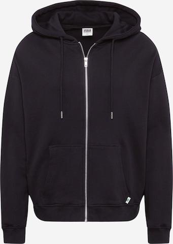 Urban Classics Curvy Zip-Up Hoodie in Black