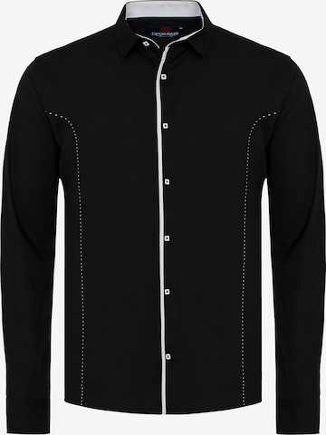 CIPO & BAXX Hemd MARCO mit Kontrast-Saum und Knopfleiste in Schwarz