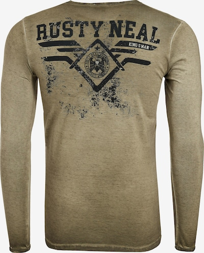 Rusty Neal Longsleeve mit großem Front-Print in khaki: Frontalansicht