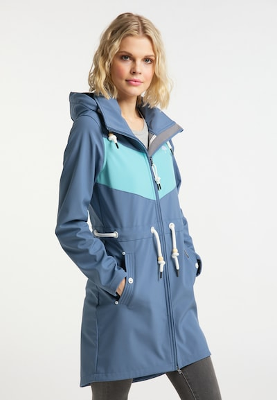Schmuddelwedda Funktionsmantel in taubenblau / weiß, Modelansicht