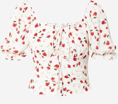 In The Style Blusa 'JOSSA' en oliva / rojo / blanco, Vista del producto