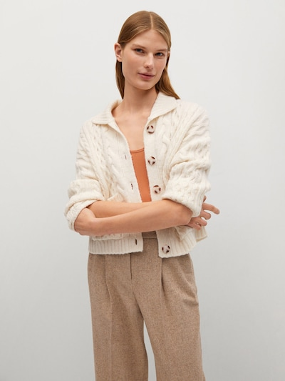 MANGO Strickjacke 'Heidi' in ecru, Modelansicht