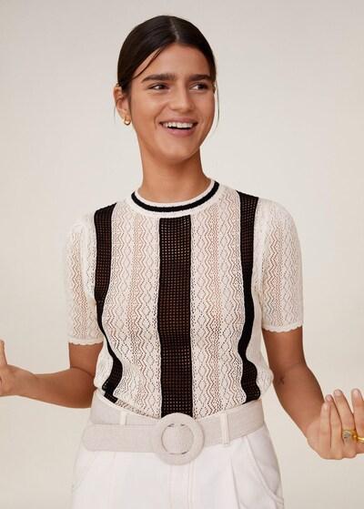 MANGO Pullover in schwarz / weiß, Modelansicht