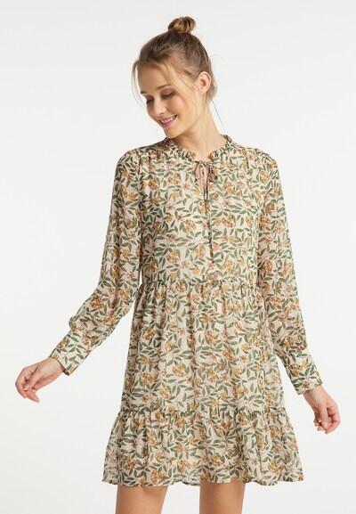 DreiMaster Vintage Kleid in beige / safran / hellgrün, Modelansicht