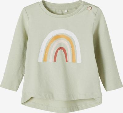 NAME IT Camiseta 'Daisi' en verde pastel / naranja / talco / rojo oscuro / blanco, Vista del producto