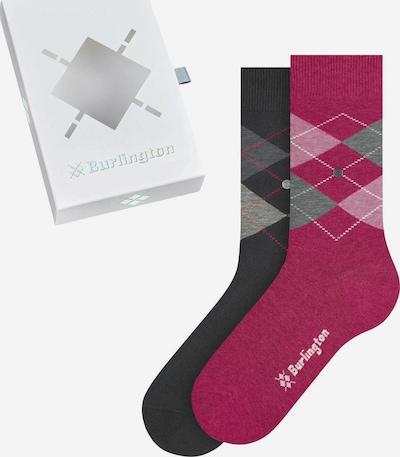 BURLINGTON Socken in grau / magenta / schwarz / weiß, Produktansicht