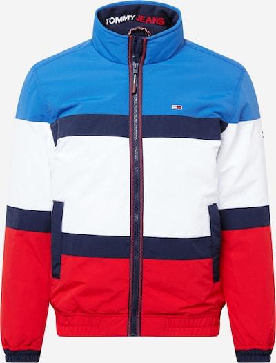 """Demisezoninė striukė iš Tommy Jeans, spalva – tamsiai mėlyna / sodri mėlyna (""""karališka"""") / ugnies raudona / balta, Prekių apžvalga"""