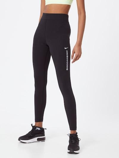 NIKE Sportovní kalhoty 'Swoosh' - černá / bílá, Model/ka