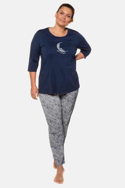 Ulla Popken Pyjama in dunkelblau / grau: Frontalansicht