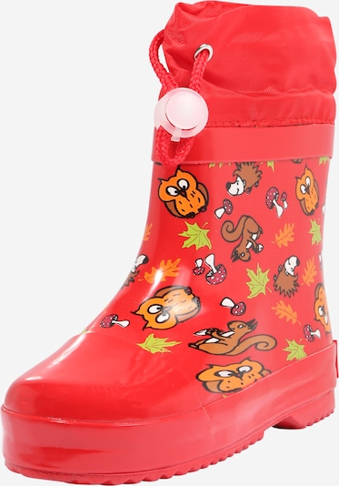 PLAYSHOES Rubber boot in Brown / Gold yellow / Light green / Orange / Red, Item view