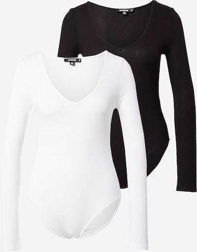 Missguided Shirtbody en noir / blanc, Vue avec produit
