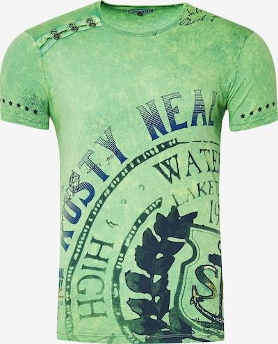 Rusty Neal Cooles T-Shirt mit großem Print in grün, Produktansicht
