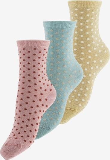 PIECES Socken 'Sebby' in gelb / pastellgrün / altrosa, Produktansicht