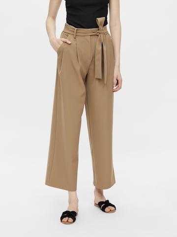 PIECES Plissert bukse i brun