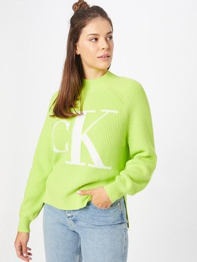 Pulover Calvin Klein Jeans pe verde kiwi / alb, Vizualizare model