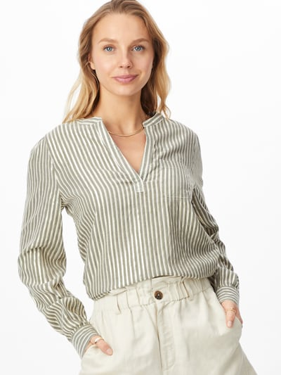 Kaffe Bluse 'Ebony' in hellgrün / weiß, Modelansicht