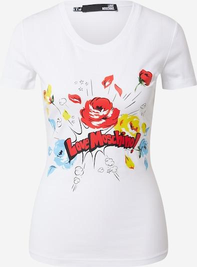 Love Moschino Тениска в светлосиньо / пъстро / огнено червено / черно / мръсно бяло, Преглед на продукта