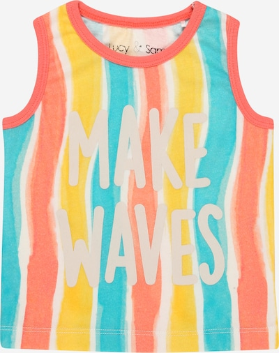 Lucy & Sam T-Shirt en turquoise / jaune / corail / blanc / blanc naturel, Vue avec produit