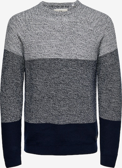 Only & Sons Trui 'Seb' in de kleur Donkerblauw / Grijs gemêleerd, Productweergave