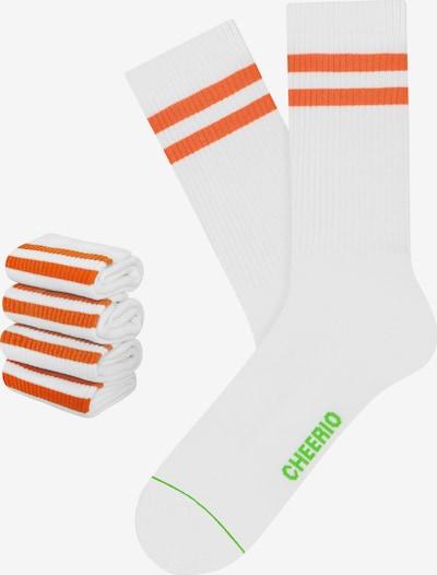 CHEERIO* Socken 'TENNIS TYPE 4P' in orange / weiß, Produktansicht