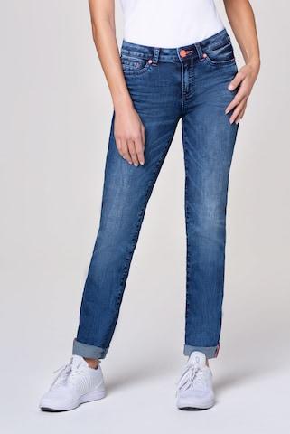 Soccx Jeans RO:MY mit Used-Optik und Kontrastknopf in Blau