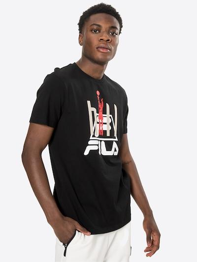 FILA Тениска 'Fico' в светлосиво / червено / черно / бяло: Изглед отпред
