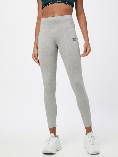 Reebok Sport Športne hlače | pegasto siva / črna barva, Prikaz modela