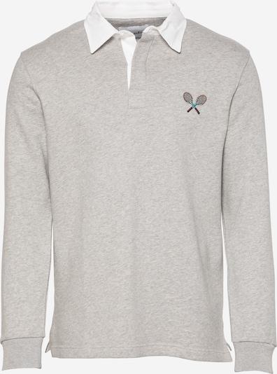 Brosbi Sweat-shirt 'THE TENNIS' en gris chiné / blanc, Vue avec produit