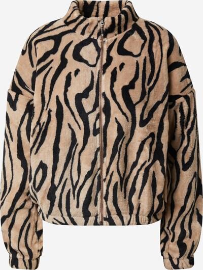 JDY Fleece jas 'EDITH' in de kleur Lichtbruin / Zwart, Productweergave