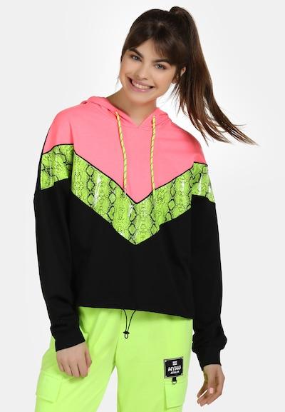 myMo ATHLSR Sportief sweatshirt in de kleur Kiwi / Pink / Zwart: Vooraanzicht