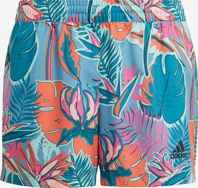ADIDAS PERFORMANCE Pantalon de sport en bleu fumé / bleu clair / pétrole / saumon / rose, Vue avec produit