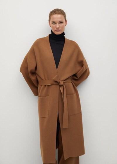 MANGO Manteau en tricot 'Sol-A' en marron, Vue avec modèle