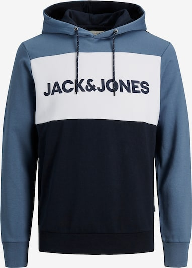 JACK & JONES Sweatshirt 'JJELOGO BLOCKING SWEAT HOOD NOOS' in Smoke blue / Night blue / White, Item view