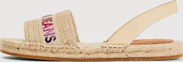 Tommy Jeans Ombre Logo Flat Linen Sandals in Beige