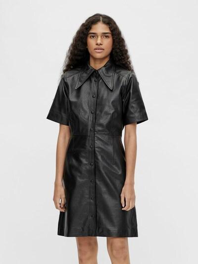OBJECT Lederkleid in schwarz, Modelansicht