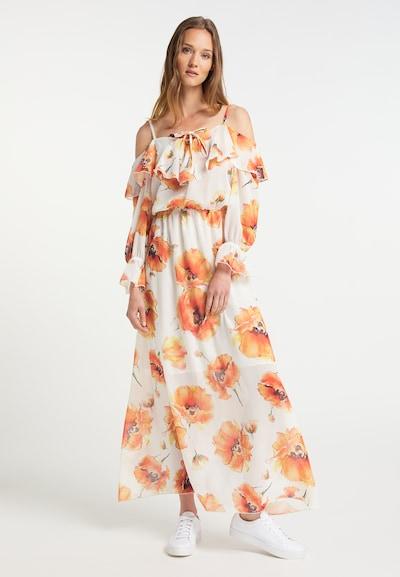 Usha Kleid in dunkelbraun / grün / orange / dunkelorange / weiß, Modelansicht