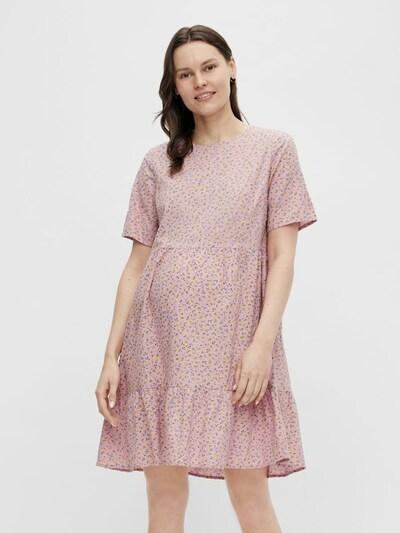 Pieces Maternity Kleid 'Trine' in gelb / grasgrün / mauve, Modelansicht