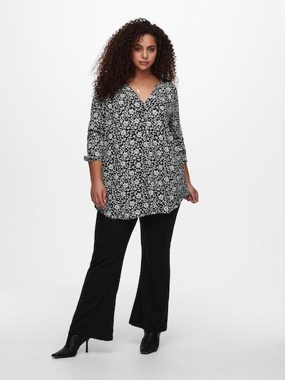 ONLY Carmakoma Blouse in de kleur Zwart / Wit, Modelweergave