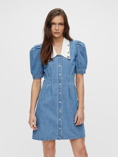 OBJECT Kleid 'Zoe' in blue denim / weiß, Modelansicht