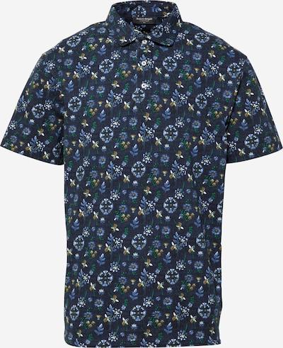 Bruun & Stengade Тениска в гълъбово синьо / тъмносиньо / кафяво / зелено / бяло, Преглед на продукта