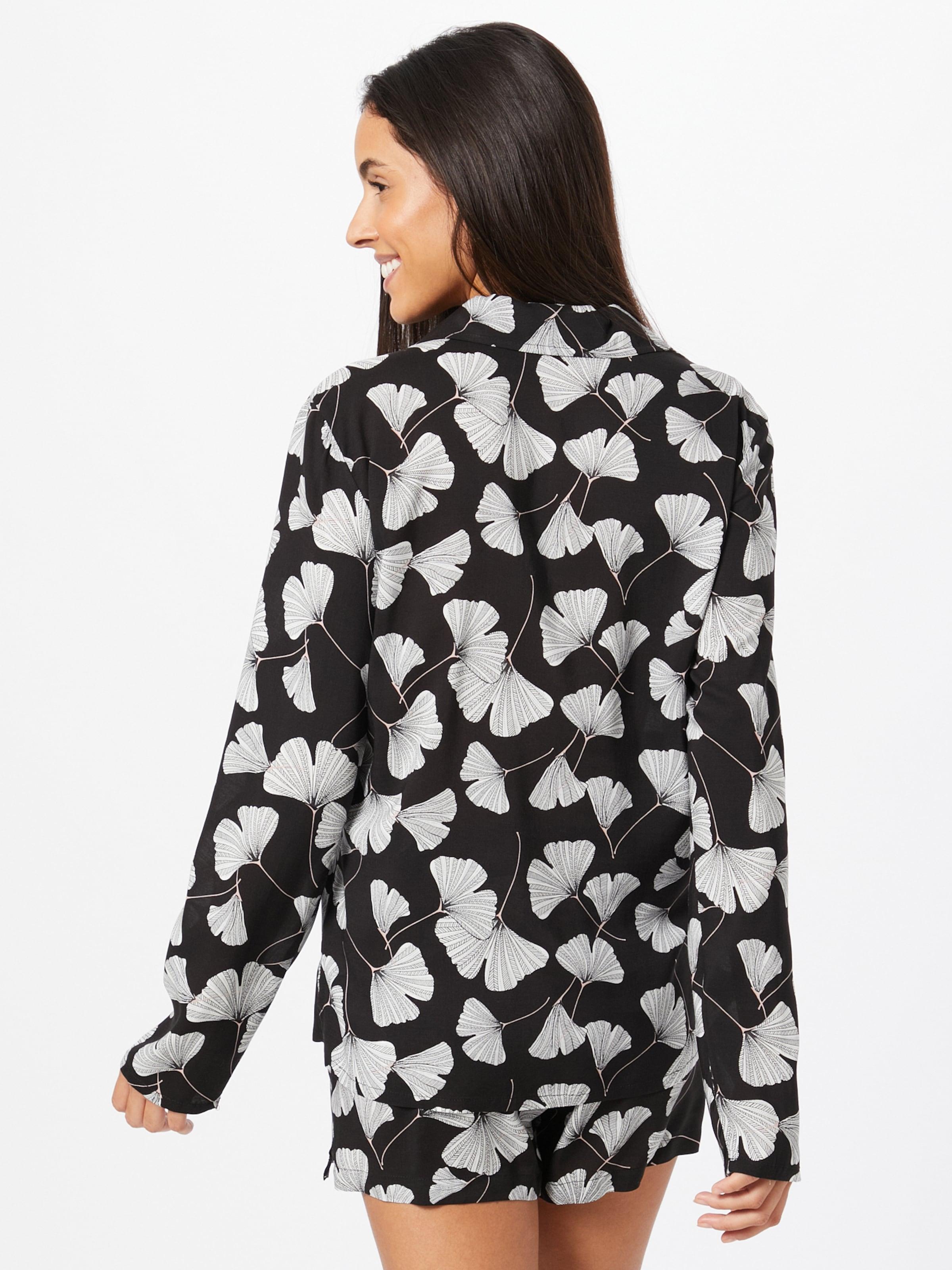 ESPRIT Pyjamas 'Hoku' i svart / vit