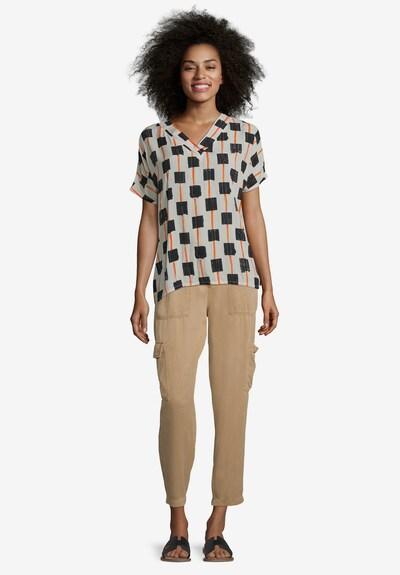 Cartoon Casual-Bluse mit Muster in grau / schwarz / weiß, Modelansicht