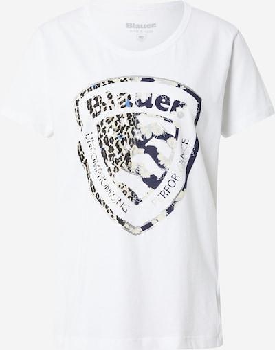 Blauer.USA Тениска 'MANICA CORTA' в светлобежово / опушено синьо / кафяво / черно / мръсно бяло: Изглед отпред