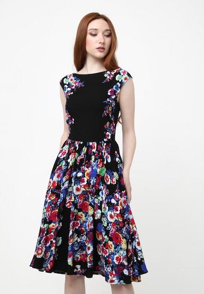 Madam-T Sommerkleid 'LOTTA' in blau / rot / schwarz / weiß, Modelansicht